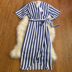 WAYF Blue Striped Short Sleeve Wrap Dress Sz Small